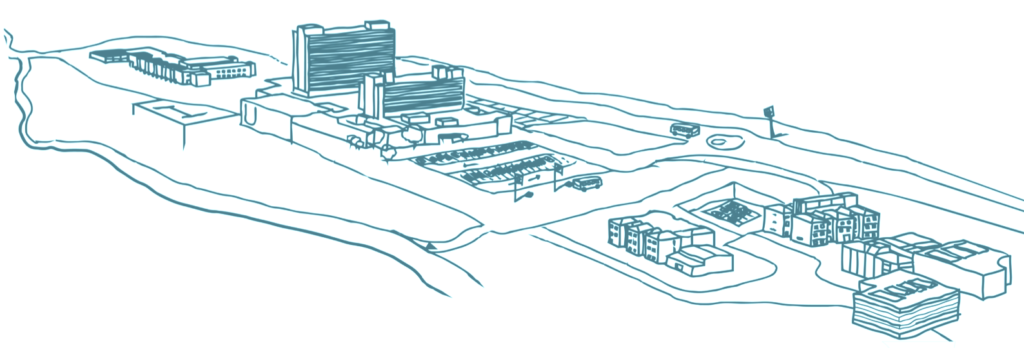Il·lustració vista general del Campus Can Ruti amb tots els edificis que en formen part